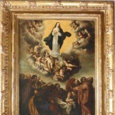 Arte: ASUNCIÓN DE LA VIRGEN. ÓLEO SOBRE COBRE. S. XVII. ESC. FLAMENCA. CÍRCULO DE P. JORDANS. 60 X 43 CM. Lote 161953110