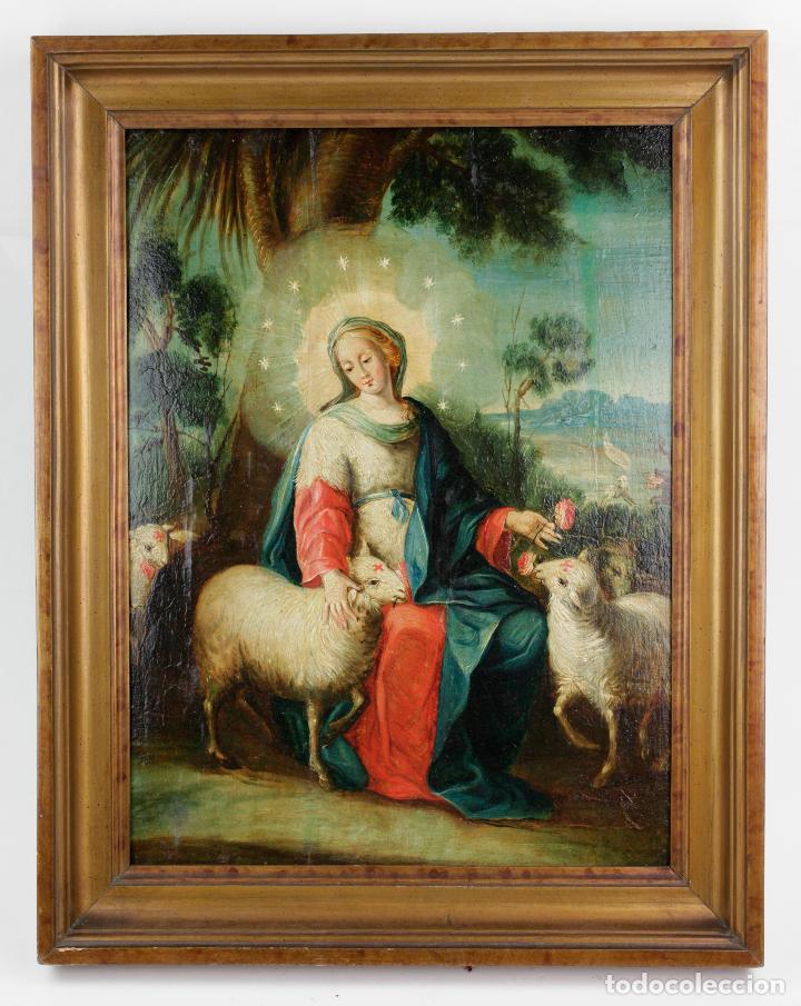LA DIVINA PASTORA, ESCUELA ESPAÑOLA SIGLO XVIII, PINTURA AL ÓLEO SOBRE TABLA. 43X32CM (Arte - Arte Religioso - Pintura Religiosa - Oleo)