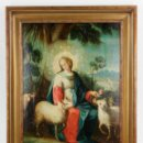 Arte: LA DIVINA PASTORA, ESCUELA ESPAÑOLA SIGLO XVIII, PINTURA AL ÓLEO SOBRE TABLA. 43X32CM. Lote 161995930