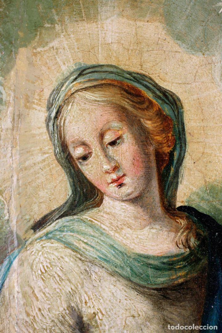 Arte: La divina pastora, escuela española siglo XVIII, pintura al óleo sobre tabla. 43x32cm - Foto 2 - 161995930