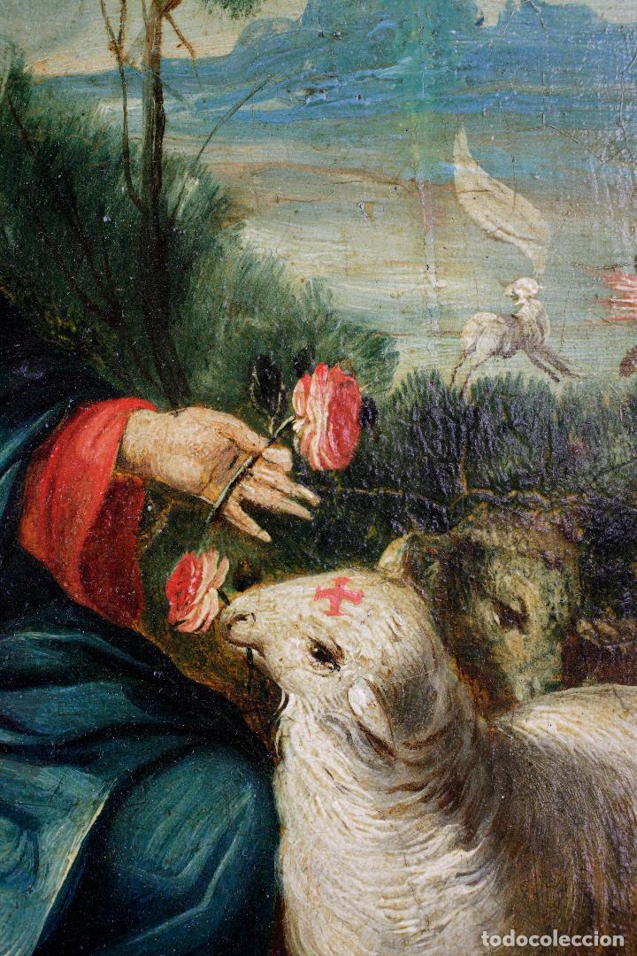 Arte: La divina pastora, escuela española siglo XVIII, pintura al óleo sobre tabla. 43x32cm - Foto 3 - 161995930
