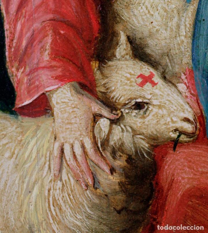 Arte: La divina pastora, escuela española siglo XVIII, pintura al óleo sobre tabla. 43x32cm - Foto 4 - 161995930