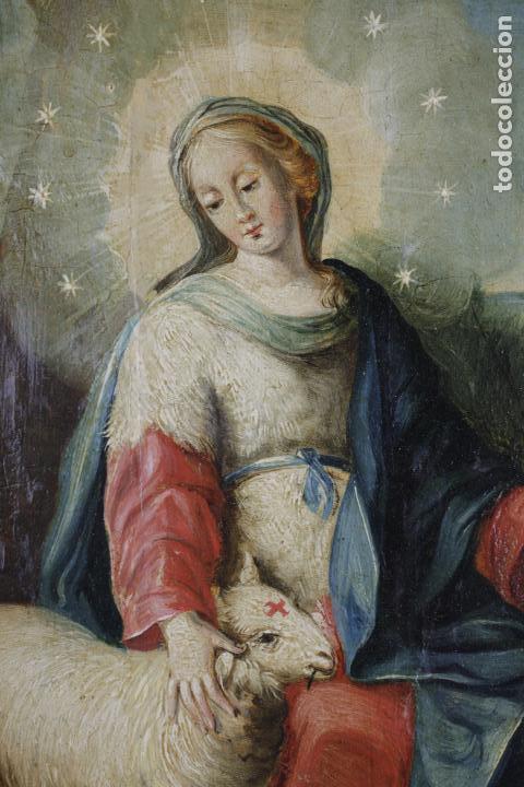 Arte: La divina pastora, escuela española siglo XVIII, pintura al óleo sobre tabla. 43x32cm - Foto 5 - 161995930