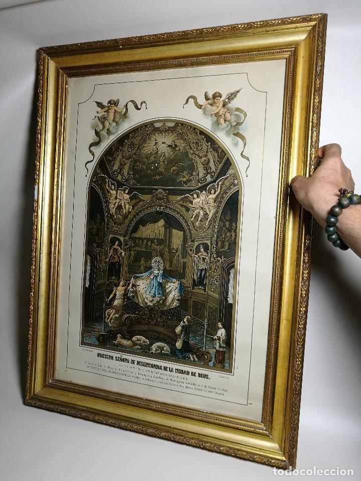 LITOGRAFÍA ILUMINADA PRECIOSO MARCO DE MADERA 8 ENERO 1897 - REUS - NTRA SRA DE LA MISERICORDIA (Arte - Arte Religioso - Litografías)