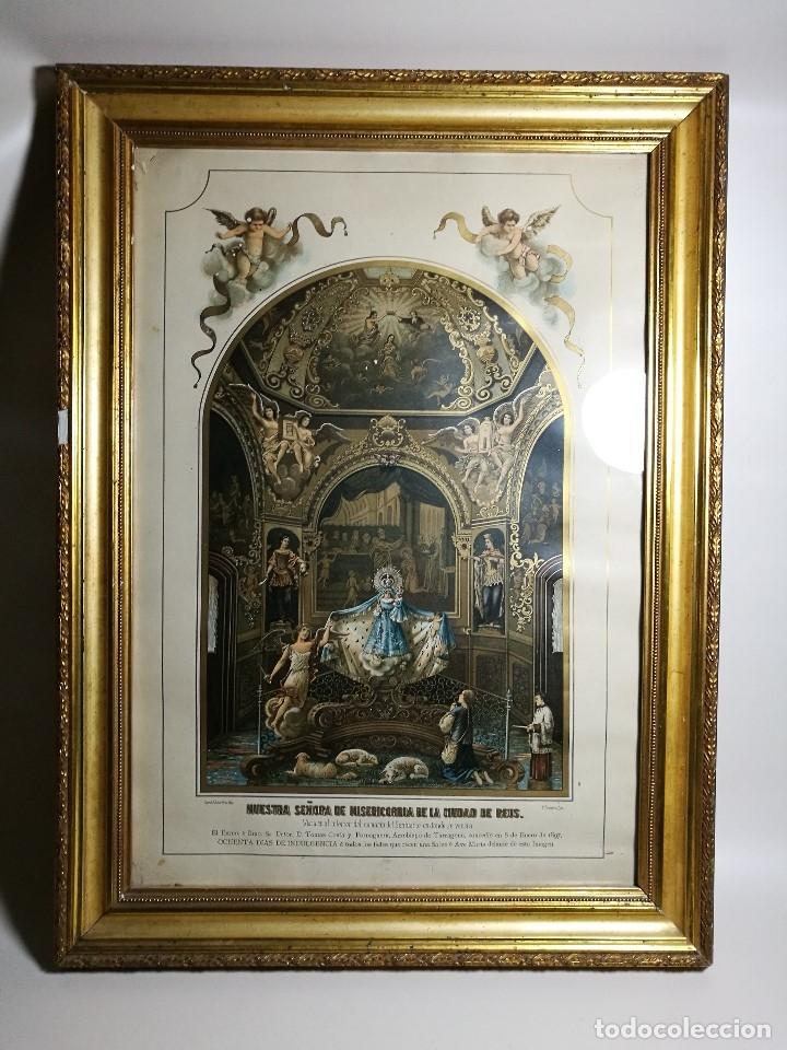 Arte: Litografía iluminada precioso marco de madera 8 enero 1897 - Reus - Ntra Sra de la Misericordia - Foto 2 - 162391166