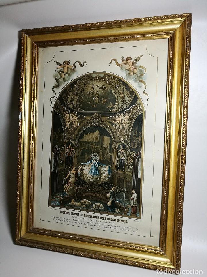Arte: Litografía iluminada precioso marco de madera 8 enero 1897 - Reus - Ntra Sra de la Misericordia - Foto 4 - 162391166