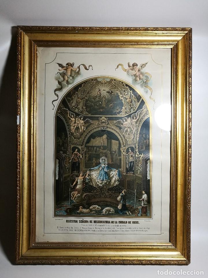Arte: Litografía iluminada precioso marco de madera 8 enero 1897 - Reus - Ntra Sra de la Misericordia - Foto 3 - 162391166