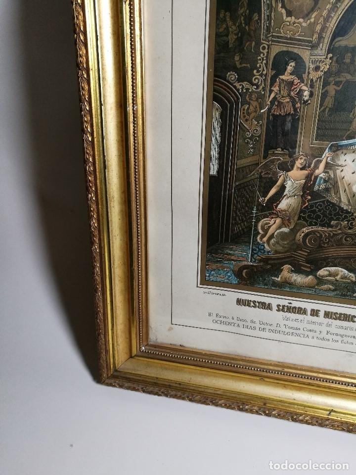 Arte: Litografía iluminada precioso marco de madera 8 enero 1897 - Reus - Ntra Sra de la Misericordia - Foto 5 - 162391166