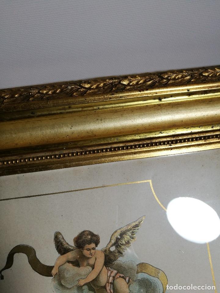 Arte: Litografía iluminada precioso marco de madera 8 enero 1897 - Reus - Ntra Sra de la Misericordia - Foto 14 - 162391166