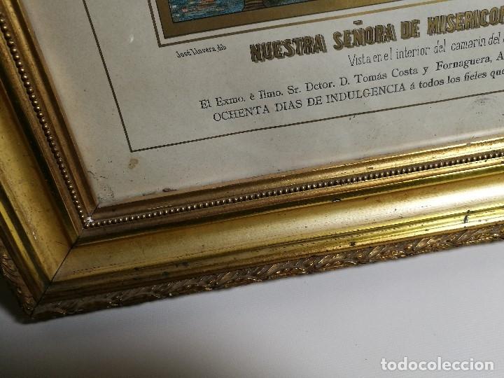 Arte: Litografía iluminada precioso marco de madera 8 enero 1897 - Reus - Ntra Sra de la Misericordia - Foto 18 - 162391166