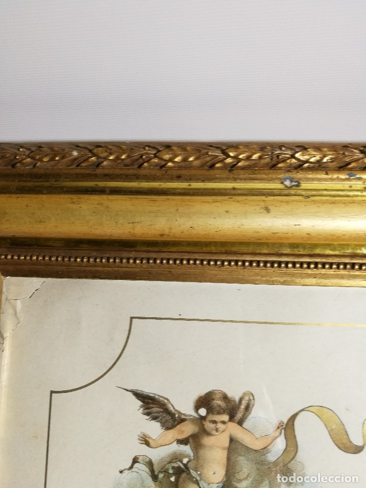 Arte: Litografía iluminada precioso marco de madera 8 enero 1897 - Reus - Ntra Sra de la Misericordia - Foto 16 - 162391166