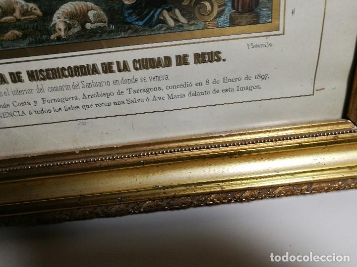 Arte: Litografía iluminada precioso marco de madera 8 enero 1897 - Reus - Ntra Sra de la Misericordia - Foto 19 - 162391166
