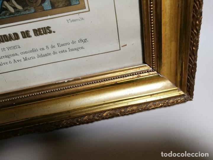 Arte: Litografía iluminada precioso marco de madera 8 enero 1897 - Reus - Ntra Sra de la Misericordia - Foto 20 - 162391166