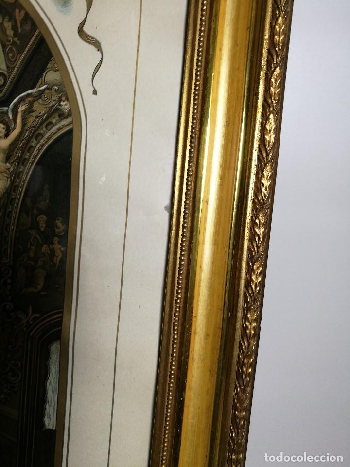 Arte: Litografía iluminada precioso marco de madera 8 enero 1897 - Reus - Ntra Sra de la Misericordia - Foto 22 - 162391166