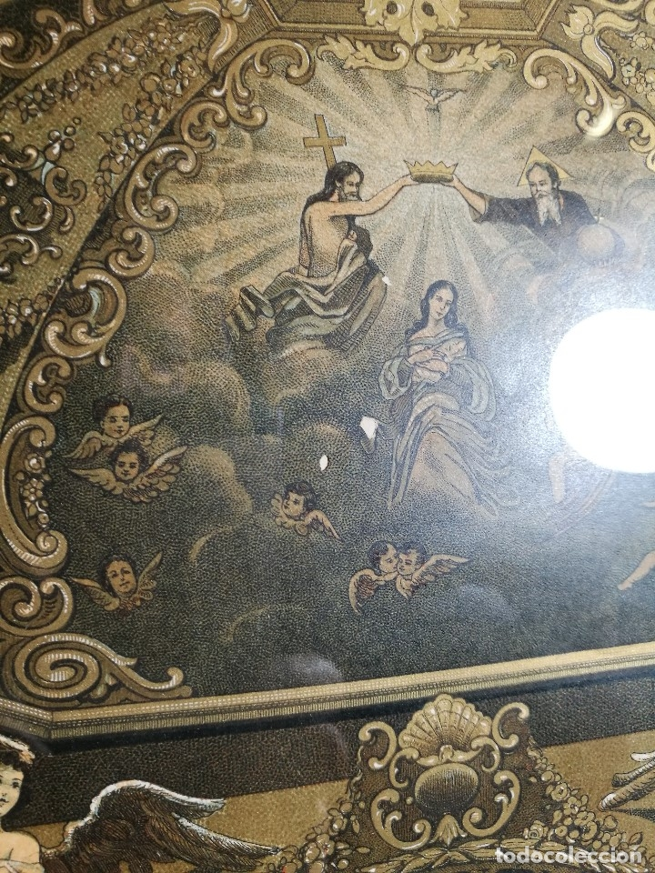 Arte: Litografía iluminada precioso marco de madera 8 enero 1897 - Reus - Ntra Sra de la Misericordia - Foto 25 - 162391166