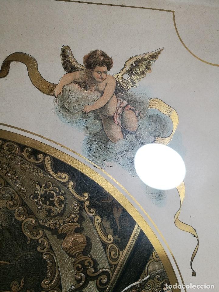 Arte: Litografía iluminada precioso marco de madera 8 enero 1897 - Reus - Ntra Sra de la Misericordia - Foto 24 - 162391166