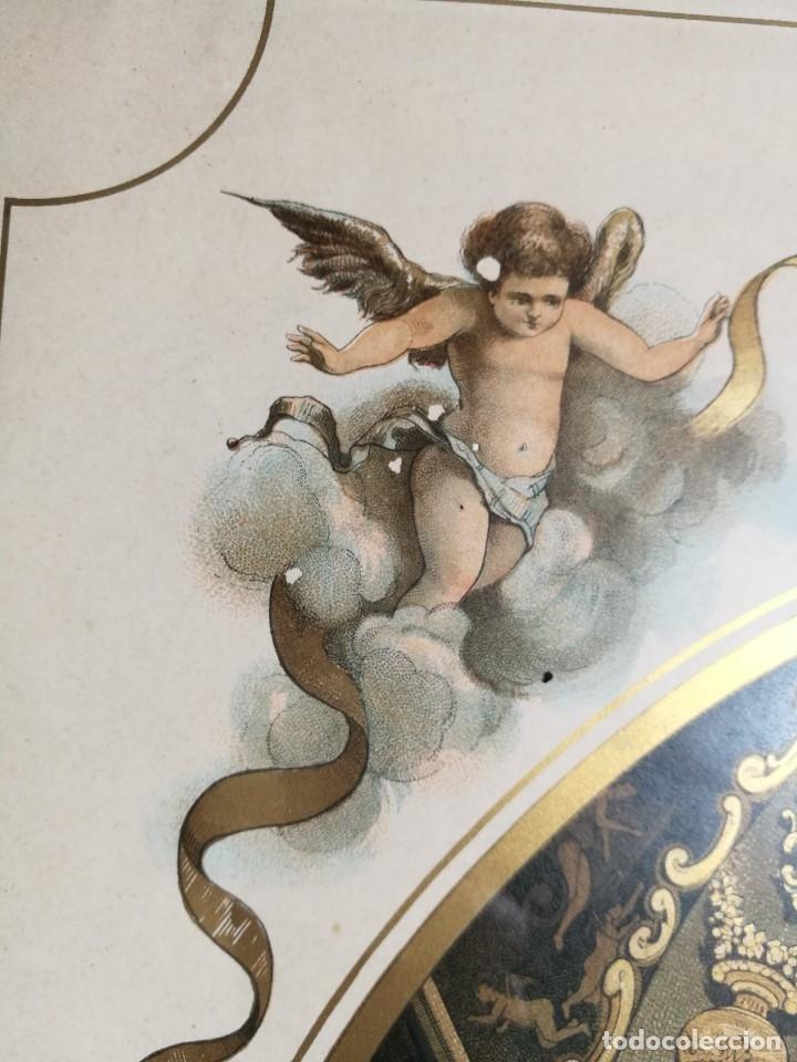 Arte: Litografía iluminada precioso marco de madera 8 enero 1897 - Reus - Ntra Sra de la Misericordia - Foto 26 - 162391166