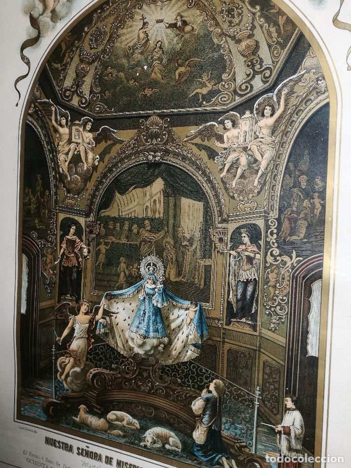 Arte: Litografía iluminada precioso marco de madera 8 enero 1897 - Reus - Ntra Sra de la Misericordia - Foto 27 - 162391166