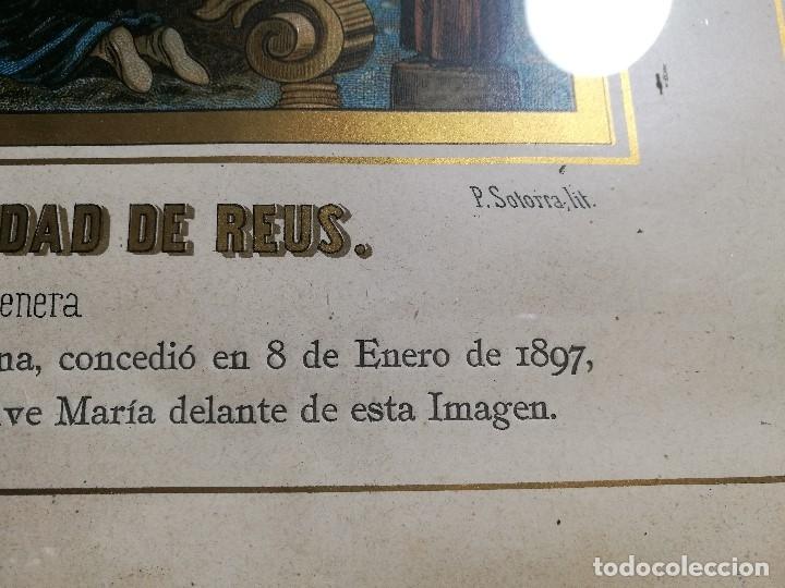 Arte: Litografía iluminada precioso marco de madera 8 enero 1897 - Reus - Ntra Sra de la Misericordia - Foto 29 - 162391166