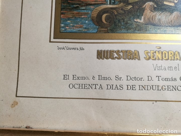 Arte: Litografía iluminada precioso marco de madera 8 enero 1897 - Reus - Ntra Sra de la Misericordia - Foto 30 - 162391166
