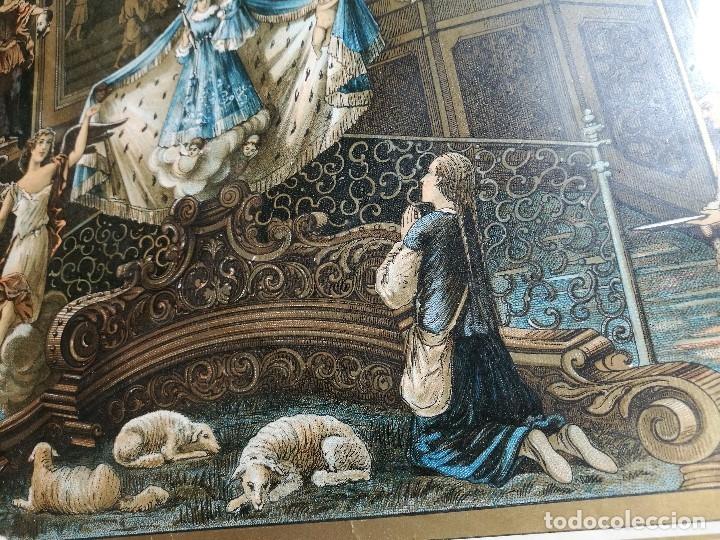Arte: Litografía iluminada precioso marco de madera 8 enero 1897 - Reus - Ntra Sra de la Misericordia - Foto 33 - 162391166