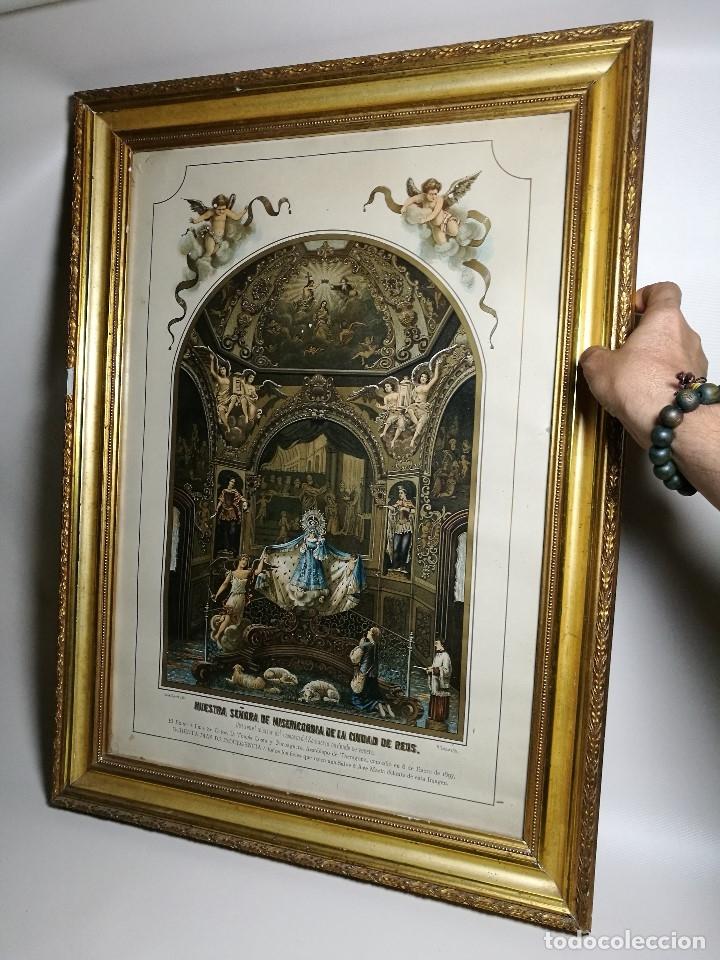 Arte: Litografía iluminada precioso marco de madera 8 enero 1897 - Reus - Ntra Sra de la Misericordia - Foto 37 - 162391166