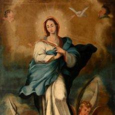 Arte: ÓLEO S/LIENZO -INMACULADA-, MUY BIEN ENMARCADO. ESC BARROCA SEVILLANA S. XVIII. DIM.- 105X81.5 CMS.. Lote 162475362
