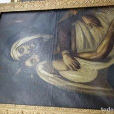 Arte: CUADRO RELIGIOSO DE LA PIEDAD DE OLEO SOBRE LIENZO DEL SIGLO XIX. Lote 162864698