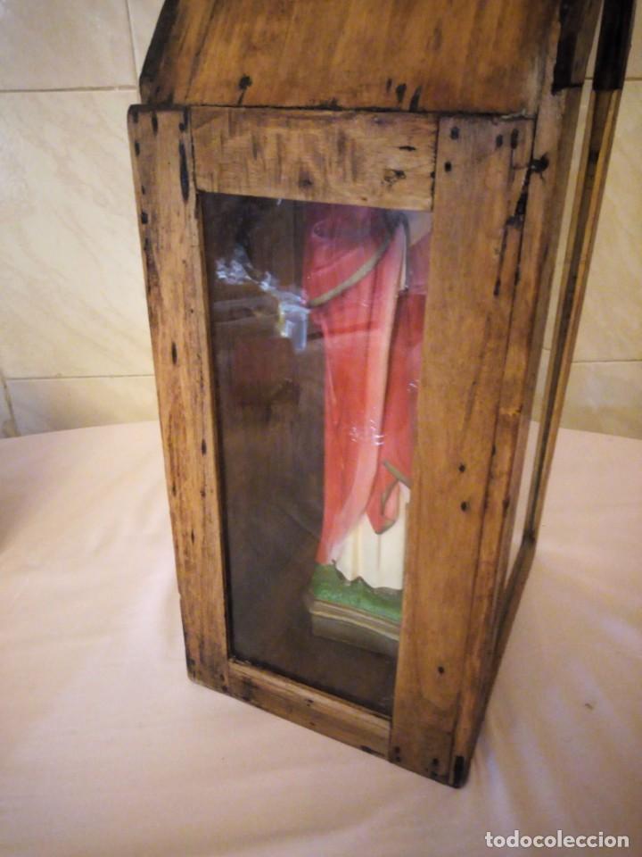 Arte: antigua Vitrina de madera noble con escultura de sagrado corazon de jesus. - Foto 5 - 163080998