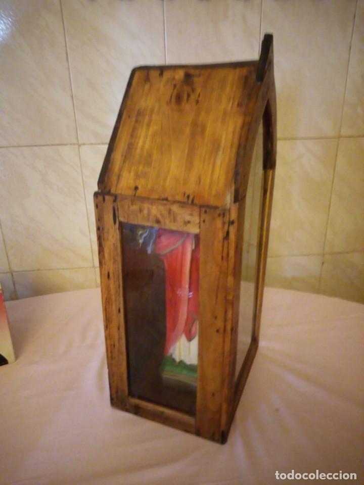 Arte: antigua Vitrina de madera noble con escultura de sagrado corazon de jesus. - Foto 6 - 163080998