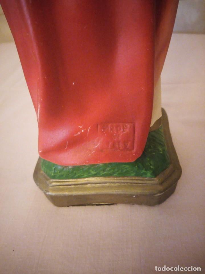Arte: antigua Vitrina de madera noble con escultura de sagrado corazon de jesus. - Foto 12 - 163080998