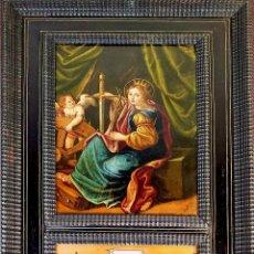 Arte: SANTA BRÍGIDA. ÓLEO SOBRE COBRE. MARCO ANTIGUO. TARACEADO. ITALIA - FLANDES. XVII-XVIII. Lote 163350018