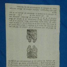 Arte: (M) GRABADO RELIGIOSO CELEBRAR SUFRAGIS PER LOS GERMANS, REAL CONGREGACION DE LA PURISSIMA S.XIX. Lote 163363398