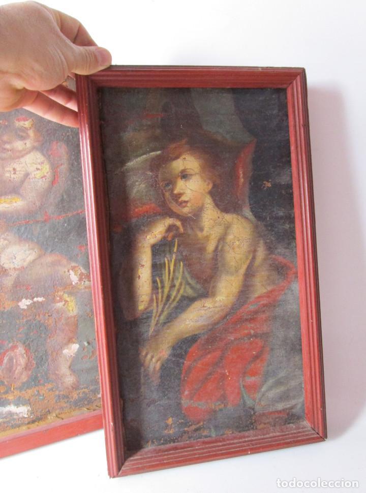 PAREJA CUADROS PINTURAS DETALLES DE OLEOS RELIGIOSOS PINTURA ESPAÑOLA S XVI SVII ANGELOTES (Arte - Arte Religioso - Pintura Religiosa - Oleo)