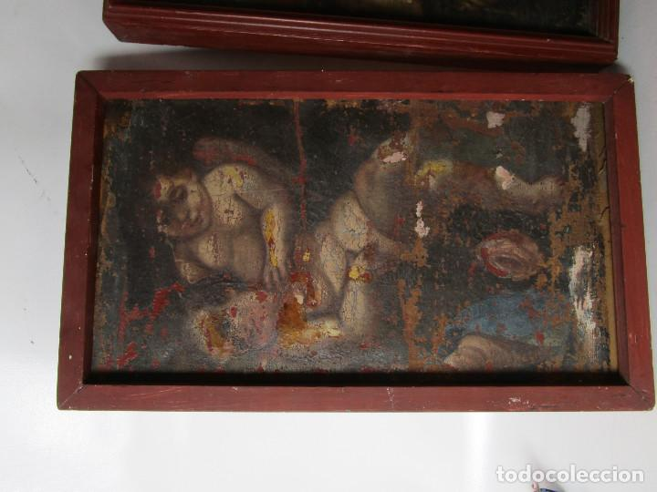 Arte: PAREJA CUADROS PINTURAS DETALLES DE OLEOS RELIGIOSOS PINTURA ESPAÑOLA S XVI SVII ANGELOTES - Foto 3 - 163429830