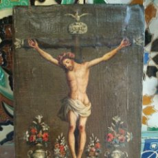 Kunst - Siglo XVIII Crucificado Crucifijo Méjico Óleo Sobre Lienzo Arte Colonial México cm. 20,4x13,6 - 161802882