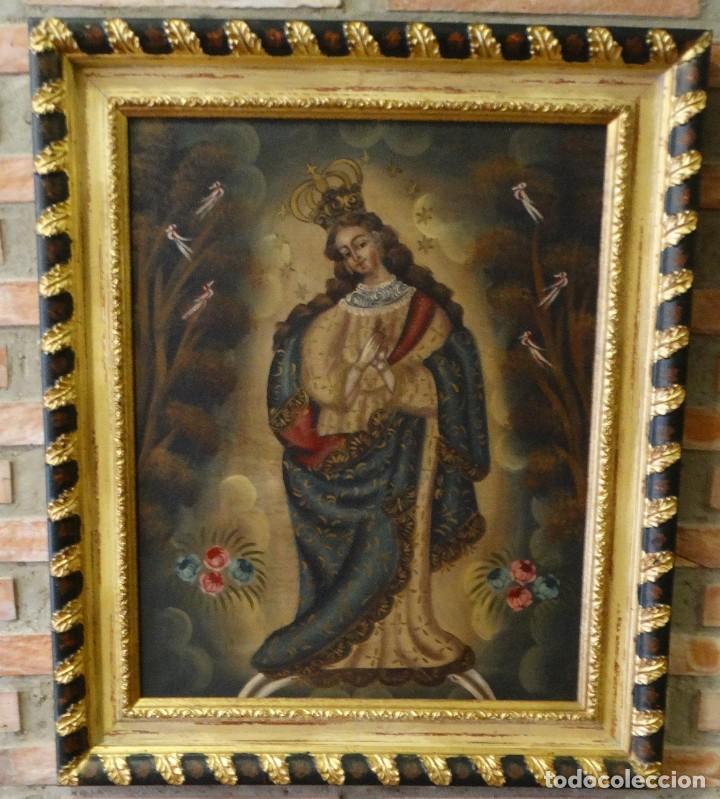 PINTURA AL OLEO VIRGEN DE GUADALUPE. (Arte - Arte Religioso - Pintura Religiosa - Oleo)