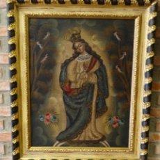 Arte: PINTURA AL OLEO VIRGEN DE GUADALUPE.. Lote 163467686