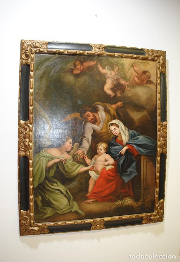 ÓLEO SOBRE LIENZO ÁNGEL DE LA GUARDA CON MARCO DE MADERA TALLADA (Arte - Arte Religioso - Pintura Religiosa - Oleo)