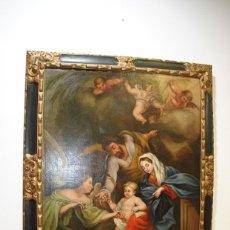 Arte: ÓLEO SOBRE LIENZO ÁNGEL DE LA GUARDA CON MARCO DE MADERA TALLADA. Lote 163480478