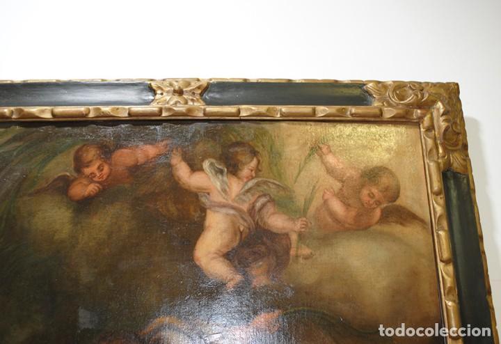 Arte: ÓLEO SOBRE LIENZO ÁNGEL DE LA GUARDA CON MARCO DE MADERA TALLADA - Foto 4 - 163480478