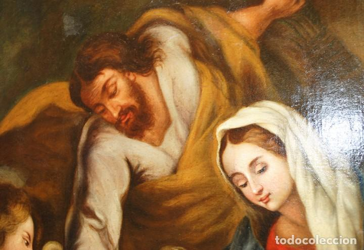 Arte: ÓLEO SOBRE LIENZO ÁNGEL DE LA GUARDA CON MARCO DE MADERA TALLADA - Foto 5 - 163480478
