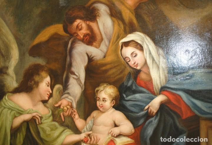 Arte: ÓLEO SOBRE LIENZO ÁNGEL DE LA GUARDA CON MARCO DE MADERA TALLADA - Foto 11 - 163480478
