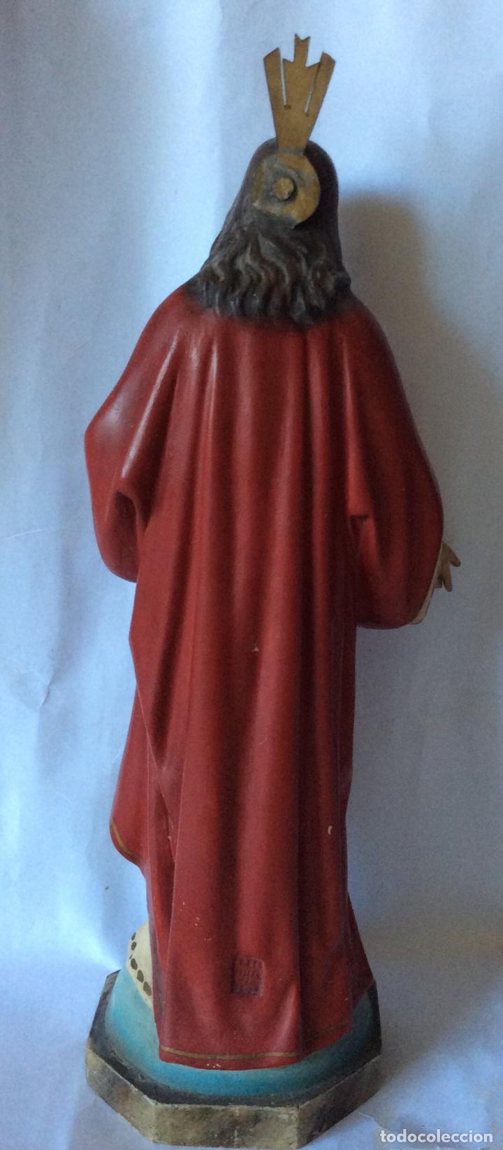 Arte: Olot ,sagrado corazón en estuco policromado ,sellado olot, Altura 32 cm - Foto 4 - 163745266