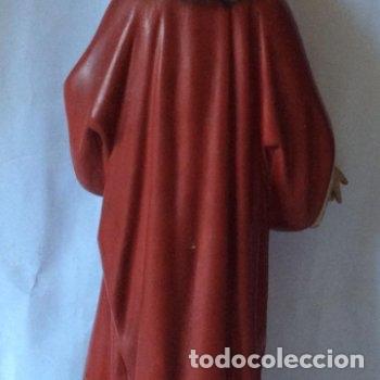 Arte: Olot ,sagrado corazón en estuco policromado ,sellado olot, Altura 32 cm - Foto 5 - 163745266