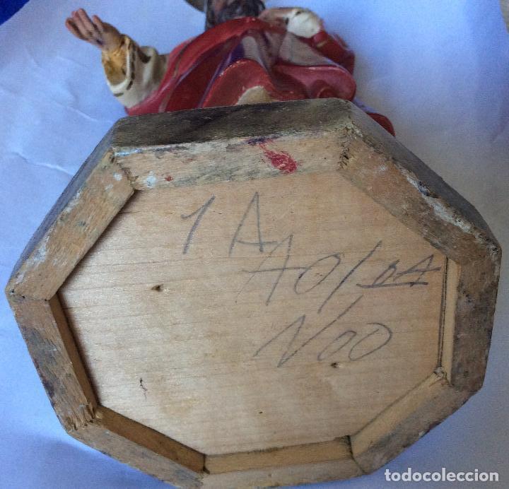 Arte: Olot ,sagrado corazón en estuco policromado ,sellado olot, Altura 32 cm - Foto 7 - 163745266