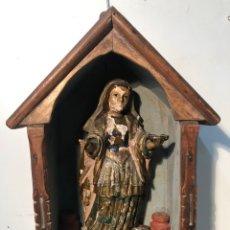 Arte: TALLA MADERA DE SANTA LUCIA CON CAPILLA PARA RESTAURAR ANTIGUA,. Lote 164194878