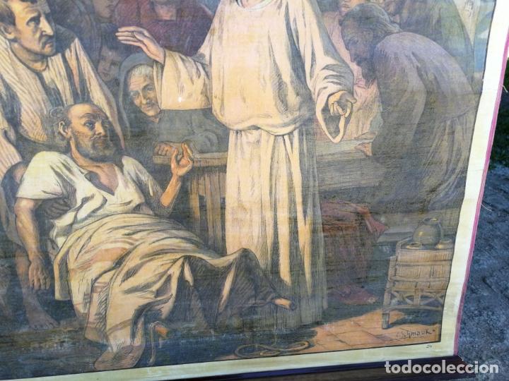Arte: ANTIGUA LAMINA RELIGIOSA ENTELADA CON ESCENAS DE LA BIBLIA PINTOR C. SCHMAUK 91x66 cm, - Foto 2 - 164254002
