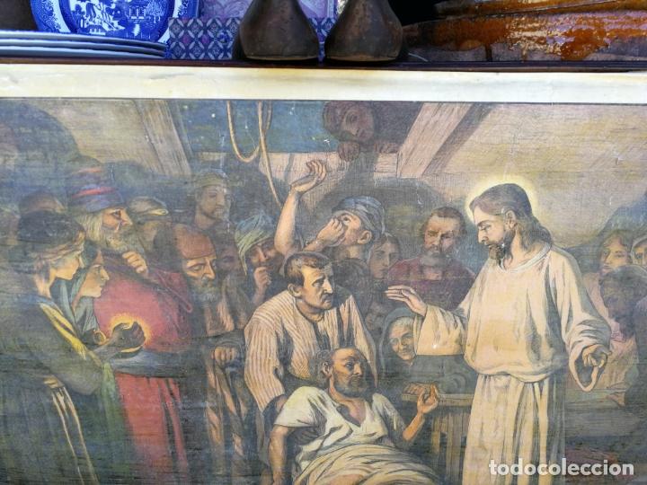 Arte: ANTIGUA LAMINA RELIGIOSA ENTELADA CON ESCENAS DE LA BIBLIA PINTOR C. SCHMAUK 91x66 cm, - Foto 3 - 164254002