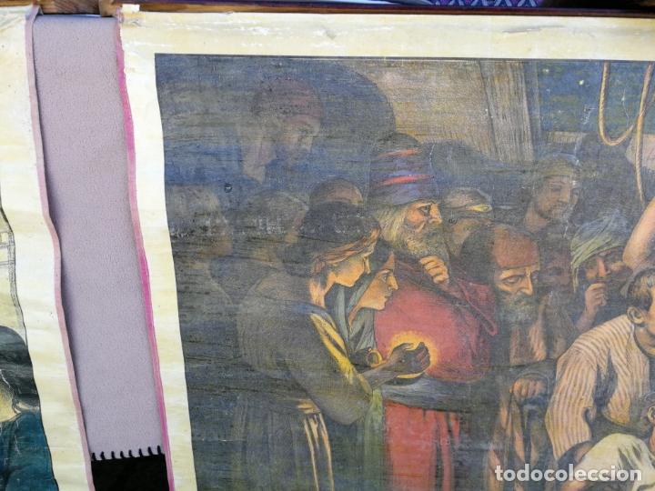 Arte: ANTIGUA LAMINA RELIGIOSA ENTELADA CON ESCENAS DE LA BIBLIA PINTOR C. SCHMAUK 91x66 cm, - Foto 4 - 164254002